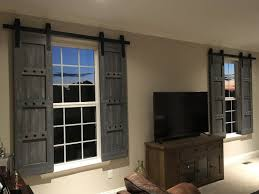 interior window barn shutters sliding shutters barn door shutter hardware packages available farmhouse style rustic wood shutter