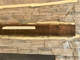 thompson no drip exterior gel stain. building a house and asked for rustic beam the mantel. builder chose wood, contractor stained it looks horrific. suggestions? thompson no drip exterior gel stain e