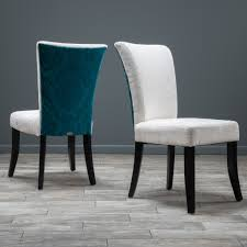 monroe ivory and teal fabric dining chairs set of 2