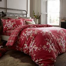 catherine lansfield canterbury brushed cotton check bedspread in deep red next day delivery catherine lansfield