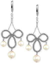 silver earrings pearl lace by effy cultured freshwater nadri framed chandelier