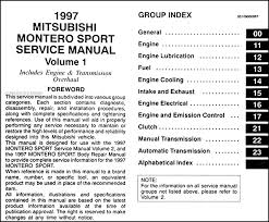 1997 mitsubishi montero sport repair shop manual set original find out what is covered by clicking here to see page 2 of the table of contents covers all 1997 mitsubishi montero sport models including ls and sr