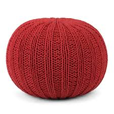 Red Knitted Pouf