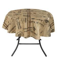 ottomanson vinyl tablecloth coffee bean design indoor outdoor tablecloth non woven baking 55 x 70 multicolor ottomanson