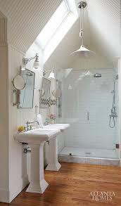vaulted ceiling bathroom with pendant light overhead vaulted