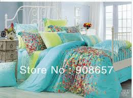 500TC flowe print green turquoise print discount cotton bed linen ... & 500TC flowe print green turquoise print discount cotton bed linen cheap  bedding set duvet covers for Adamdwight.com