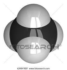 メタン 分子 隔離された 白 イラスト
