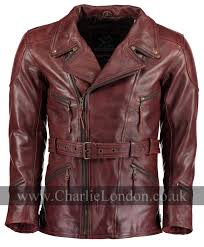 ed vintage red long leather biker jacket