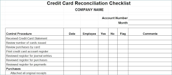 Credit Card Log Template Business Credit Card Reconciliation Form Image Collections