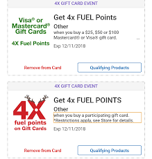 both general and visa mastercard gift cards are included in the 4x fuel points promotion although the terms state that only paring cards qualify