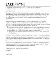 Assistant Manager Cover Letter Job And Resume Template Retail Best