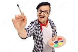 pincel pintando. alegre joven artista pintando con pincel \u2014 foto de stock #109832326 n