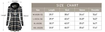 417c Pt Chart Miusey Womens Long Sleeve Drawstring Plaid Hoodies Tunic Sweatshirt With Pockets