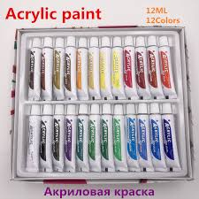 Professional 24 Colors 12ML Acrylic Paint Set Nail <b>Art</b> Painting ...