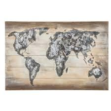 world map gesso wood wall decor