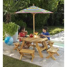 Kids Wooden Folding Outdoor Setting Table With Bench And Umbrella Childrens Outdoor Furniture With Umbrella