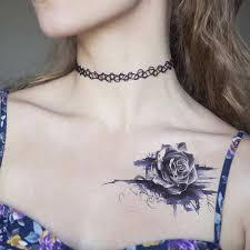 Purple Rose Water Transfer Tattoo Stickers žena Hrudník Body Art Dočasné Tattoo život životní Náramek Flash Tetování Květina At Vova