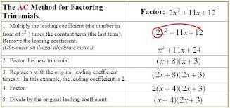 Ac Method Ac Method For Factoring Trinomials A Plus Topper