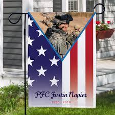 personalized military pride memorial photo garden flag personalized memorial garden flags