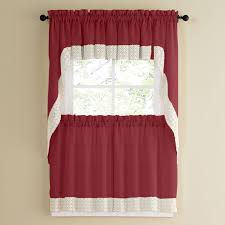 Red Swag Kitchen Curtains Salem Tier Valance Swag Collection Kitchen Curtains Brylanehome