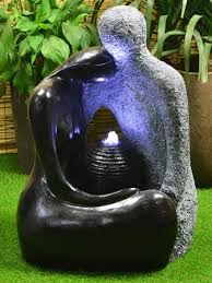 Solar Light Up Water Feature Solar Granite Couple Water Feature Garden Makeover Water