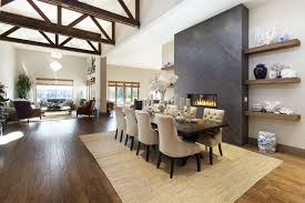 floating shelves dining room dining room terranean with custom wood trusses fireplace wall open shelving