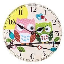 cute colorful owl wall clock student