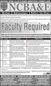 ncba e jobs teaching faculty in multan bahawalpur ncba e jobs 2016 teaching faculty in multan bahawalpur rahim yar khan campuses latest
