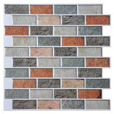 a17033 vinyl self adhesive wall tile colorful bricks design 12in x 12in