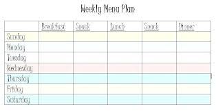 Weekly Food Plan Template 2 Week Diet Example Meal Menu