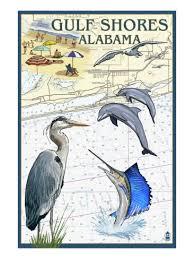 Gulf Coast Nautical Charts Gulf Shores Alabama Nautical Chartby Lantern Press