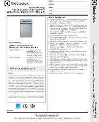 electrolux glasswasher. specsheet electrolux glasswasher