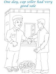 Small Picture Cap seller story coloring page for kids 2