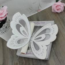 Scroll Birthday Invitations 50pcs Laser Cut Wedding Invitations Elegant White Butterfly Scroll