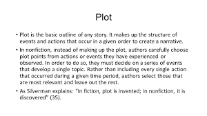"plotting your life"" parts of the personal essay ppt video  plot plot is the basic outline of any story it makes up the structure of"