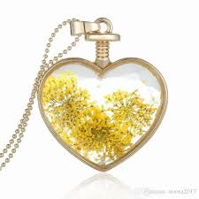 whole new fashion pendants heart crystal necklace alloy love golden yellow flower phase box pendant locket crystal glass pendant necklace chain necklace
