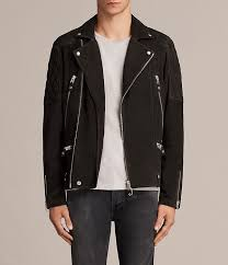 allsaints washed black men s kitsir suede biker jacket