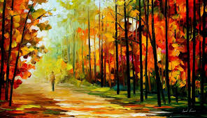 abstract art paintings walk alone in the autumn