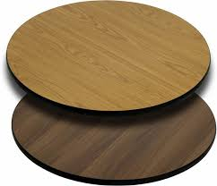 36 round commercial reversible cafe table top oak walnut with black t mold edge