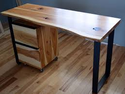 Natural edge furniture Birch Custom Made Rustic Hickory And Steel Desk With Natural Edge Custommadecom Custom Rustic Hickory And Steel Desk With Natural Edge By