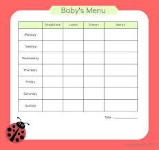 Babies Menu Planner And Away We Go Menu Planning For Baby