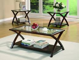 coaster furniture cappuccino wood glass top 3pc coffee table set the classy home