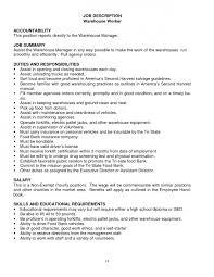 Warehouse Jobs Resume Unitedijawstates Com