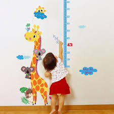Cartoon Giraffe Height Measure Wall Sticker For Kids Rooms Nursery 90 140cm Home Decor Growth Chart Mural Child Height Art Decal Appliques For Walls