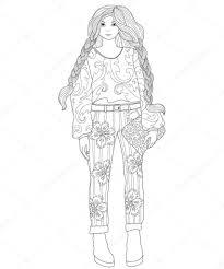 Mooie Modieuze Meisje Kleurplaat Pagina Voor Volwassenen Mode With