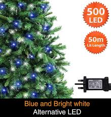 Christmas Bright White Lights Fairy Lights 500 Led 50m Blue Bright White Alternative Indoor Outdoor Christmas Lights String Tree Lights Festivalmemory Timer Mains Powered 164ft Lit