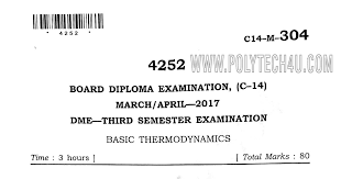 diploma mechanical thermodynamics previous question paper c-14 March ...