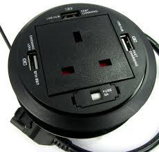 description desk grommet uk power socket with 3 x usb