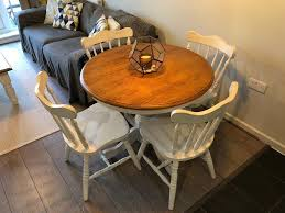 dining table and chairs round wooden table shabby chic