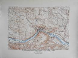 1908 Map Little Falls New York Ny Mohawk River New York Central And Hudson River Railroad Line Antique Original Lithograph